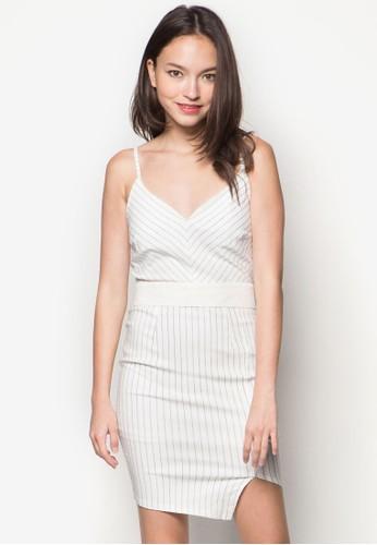 Leesprit 台北ah 條紋細肩帶洋裝, 服飾, 派對洋裝