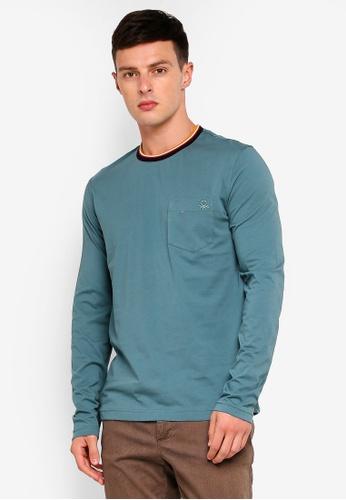 United Colors of Benetton 綠色 純棉條紋領口長袖口袋上衣 DF564AA09804D5GS_1