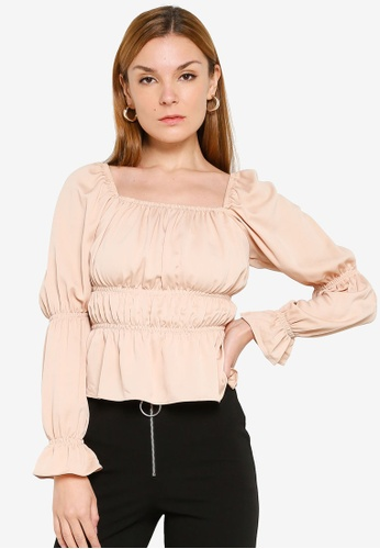 Miss Selfridge pink Blush Ruched Detail Top 42FDBAAA557CBCGS_1