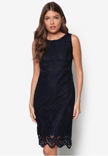 zalora 包包 ptt蕾絲無袖直筒洋裝, 服飾, 洋裝