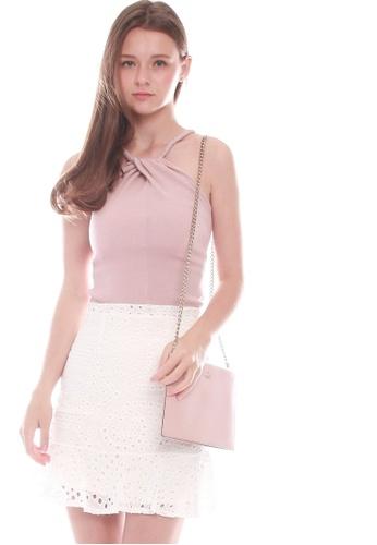 JOVET pink Cut-In Knit Top 1D87EAA8A27CCDGS_1