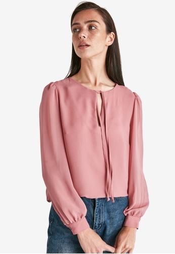 Trendyol pink Long Sleeve Collar Detail Blouse FD22EAA5C954A2GS_1