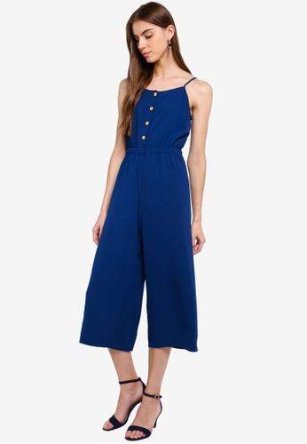 ZALORA 藍色 鈕釦細肩帶連身褲 B56F1AA5B2344AGS_1