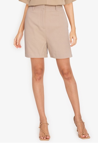 ZALORA WORK brown Shorts With Trim 2C95AAA080F767GS_1
