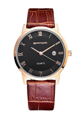 SANDA black SANDA P188G Genuine Leather Brown Band Date Display Quartz Watch for Men (Black Gold) SA708AC0RXECMY_1