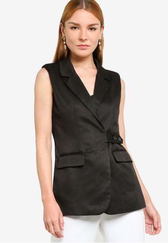 ZALORA OCCASION black Side Tab Waistcoat 0401BAA4BA0D48GS_1