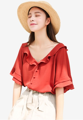 Shopsfashion red Ruffles Flare Sleeve Blouse 4A906AA35F7786GS_1