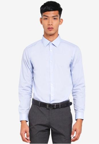 Burton Menswear London blue Blue Slim Fit Easy Iron Shirt F8D87AAC87F127GS_1