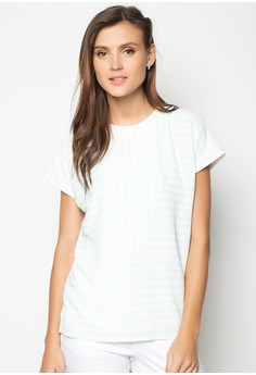 Printed Stripes Extended Sleeves Cut and Sew Top