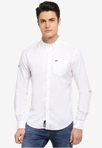 Superdry 白色 長袖口袋牛津襯衫 198D1AAC4407F1GS_1