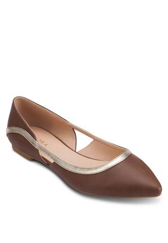 撞色滾邊鏤空尖頭平底鞋, 女鞋,esprit outlet 高雄 鞋
