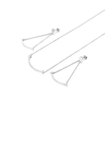 Glamorousky white Fashion Temperament Smile 316L Stainless Steel Necklace and Earring Set with Cubic Zirconia D46CBAC4DD18BAGS_1