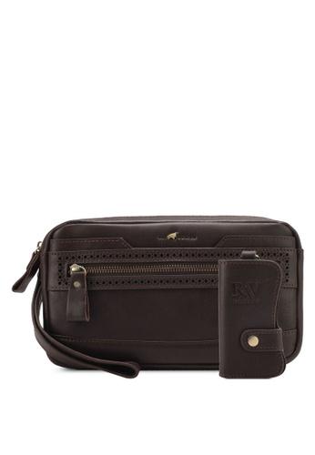 RAV Design brown Leather Clutch RA113AC0SJ9OMY_1