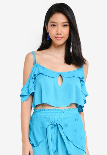 River Island blue Blue Broderie Cami Beach Top 4CAB6AAD225D07GS_1