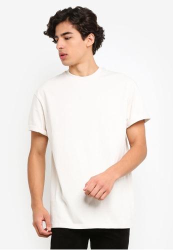 fa4581ab02e3c2 Topman beige Ecru Oversized Roller T-Shirt 63667AABA45F54GS 1