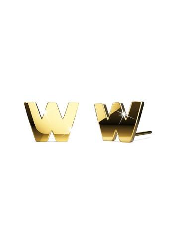 Bullion Gold gold BULLION GOLD Dainty Alphabet Letter Earring Gold Layered Steel Jewellery - W AE18AAC906B05CGS_1