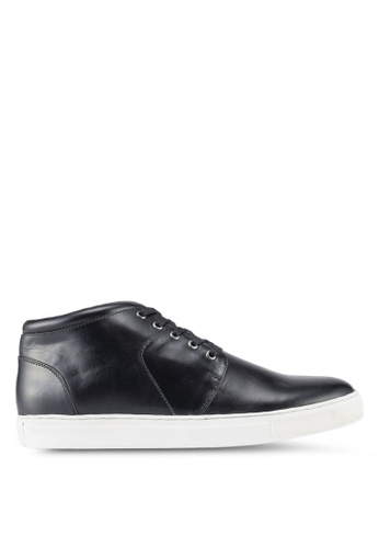 ACUTO black Leather Sneakers AC283SH0SL80MY_1