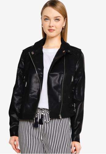 LC Waikiki black Faux Leather Biker Jacket 92EEEAA298AB9FGS_1