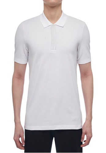 CK CALVIN KLEIN white Stretch Mercerised Cotton Pique Short-Sleeved Polo 010AEAA387A202GS_1