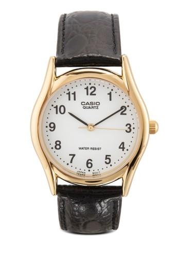 MTP-1094Q-7B1 數esprit暢貨中心字皮革手錶, 錶類, 飾品配件