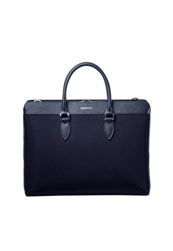 Maverick & Co. blue and navy Maverick & Co. Alpha Leather-Trimmed Briefcase (Navy) F8FA7AC51BB979GS_1