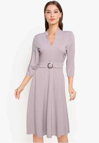 ZALORA WORK grey Notch Neck Dress With Belt F1741AA4F2D254GS_1