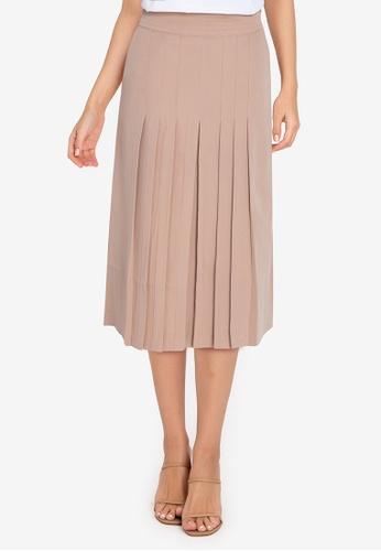 ZALORA WORK brown Pleated Front Skirt B6C7BAAA1B3038GS_1