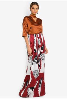 ad7bad7ca1e Ezzati Amira brown and multi Beaded Blouse With Waterfall Skirt  A12A8AA5679603GS_1