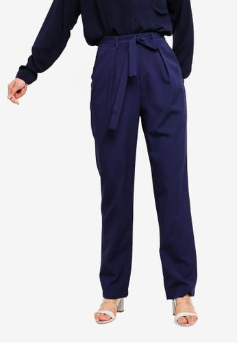ZALORA BASICS navy Basic Belted Cigarette Pants 78102AA548CBCBGS_1