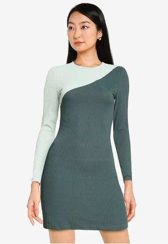 ZALORA BASICS green and multi Colour Blocked Mini Dress E6D63AA5C25964GS_1