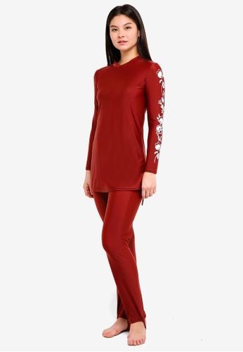PINK N' PROPER red Modest Azra Floral Muslimah Swimwear Set 80EE5US26F29D2GS_1