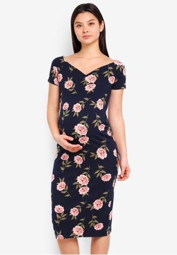 Dorothy Perkins black Maternity Navy Floral Bodycon Dress 4F865AAFF9D072GS_1