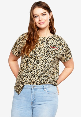 f31b9af422e7 Violeta by MANGO beige Plus Size Leopard-Print T-Shirt 1A91AAA9EAB666GS_1