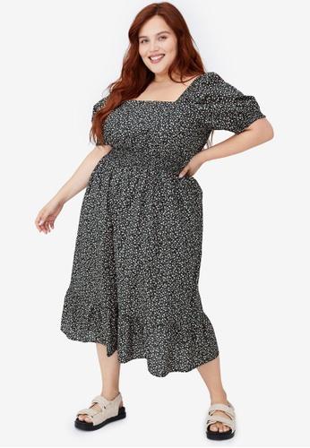 Cotton On black Plus Size Woven Square Neck Midi Dress F6363AA6B147BFGS_1