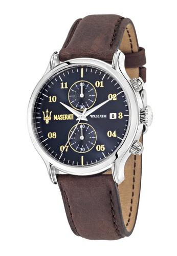 Maserati brown Epoca Quartz Watch R8871618001 Dark Brown Leather Strap 394ECAC94E993EGS_1