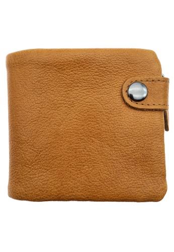 LUXORA brown The Ninja Co. Top Grain Leather Billfold Coin Wallet Zip Card Purse Brown 09207AC10FA983GS_1