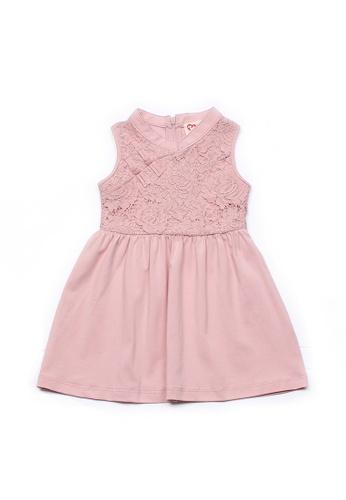 Mini Moley pink Oriental Cheongsam Inspired Girl's Lace Dress E315EKA31AAADFGS_1
