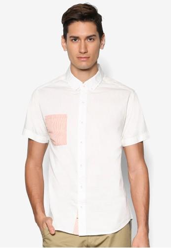 esprit地址拼色短袖襯衫, 服飾, 襯衫