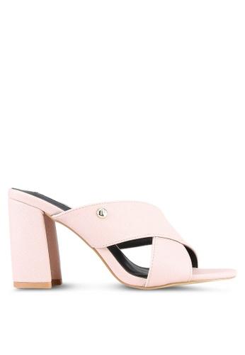Nose pink Cross PU Chunky Heel Slides NO327SH0S6U5MY_1