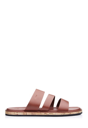 BONIA brown Men Dark Brown Gladiator Strap Sandals 3F802SH8D51ED8GS_1