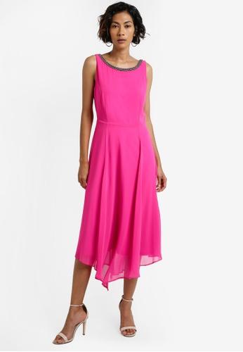 Wallis pink Pink Embellished Asymmetric Fit And Flare Dress WA800AA0RCJ6MY_1