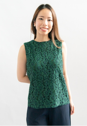 Love Knot green Felice Lace Overlay Sleeveless Top (Green) DF0A6AA52BC0F0GS_1
