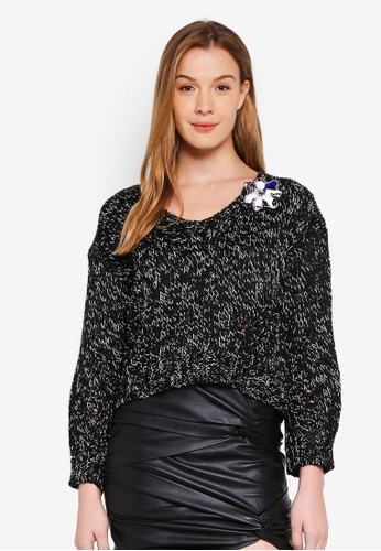 Guess black Abigail Floral Embellished Sweater Top F62A1AAF47DCF3GS_1