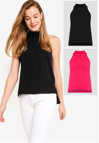 c6717c18b7 ZALORA BASICS black and pink 2 pack Basic High Collar Halter Neck Top  ZA274AA0KSO5SG 1