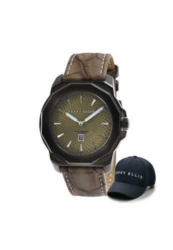 Perry Ellis brown Perry Ellis Decagon Unisex 42mm Quartz Watch 08008-01 with Perry Ellis Cap 2EFDAAC0A2F313GS_1