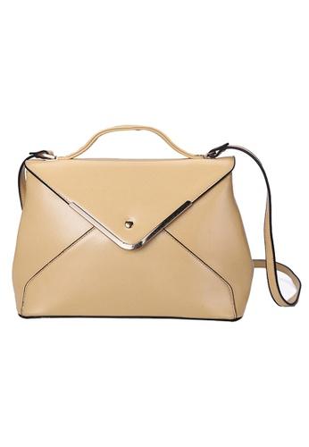 KRIZO beige Crossbody Handbag for Women with Metal Chain Strap (Beige) KR476AC57IKGMY_1