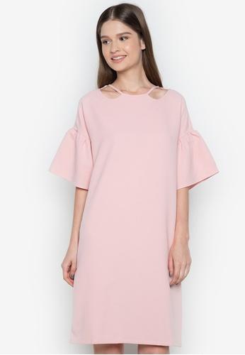 NEW ESSENTIALS pink Ivar Aseron Ruffle Sleeve Dress NE239AA0JD2JPH_1