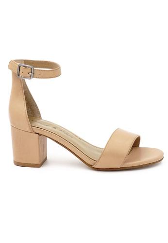 OSCAR & MAYA brown Lama 6cm Mid Block Heel Sandals OS304SH09GLIHK_1