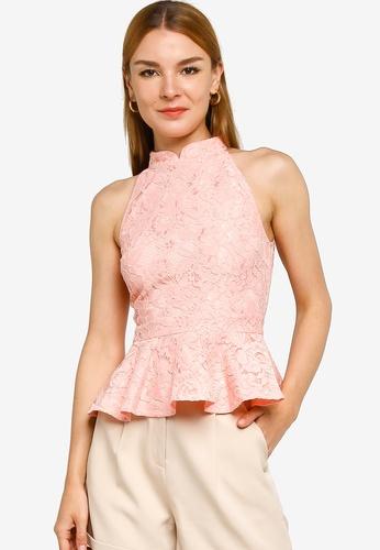 ZALORA OCCASION pink Mandarin Collar Peplum Top 5C82AAA9F41170GS_1