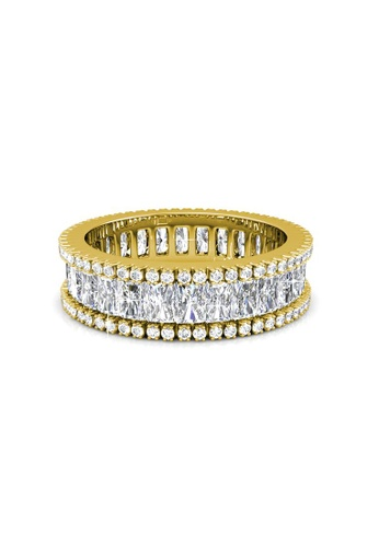 Her Jewellery gold Swarovski® Crystals - Glamour Lock Ring (Yellow Gold) (18K White Gold Plated) Her Jewellery HE581AC0RDOXMY_1